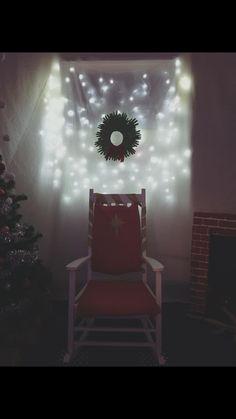 Santa's grotto, Santa's chair, Christmas lights, Christmas background, hand wreath.