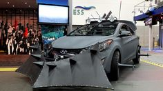 #Hyundai Elantra Zombie Survival Machine designed by The Walking Dead creator, Robert Kirkman on display at #ComicCon. #SDCC