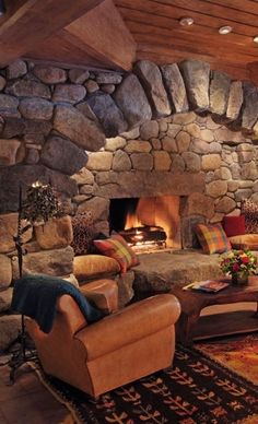 Rustic Fireplaces, Home Fireplace, Fireplace Design, Stone Fireplaces, Corner Fireplaces, Fireplace Seating, Fireplace Hearth, Rustic Home Design, Dream Home Design