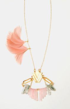 Bib Necklace Pastel Pink and Green Statement Necklace