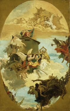 """The Miracle of the Holy House of Loreto,"" 1743, Giovanni Battista Tiepolo.  This is all that remains of the ceiling fresco for the Scalzi church in Venice. The scene expands heavenward, showing earthly sinners, through saints and angels, to God and the Holy Ghost."