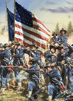 """Wisconsin at Gettysburg"""" By Rick Reeves The Iron Brigade American Soldiers, American Civil War, American History, Military Art, Military History, Civil War Art, Civil War Photos, Le Far West, Gettysburg"""