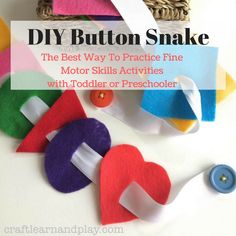 DIY Button Snake is a simple to make toy to practice fine motor skills activities with your toddler or preschooler. Try it out... #tutorial #diy #Montessori #handmade #toy