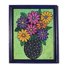 Gerbera Daisy Painting - Colorful Floral Still Life - Flowers in Vase - Gerber Flowers - Original Mixed Media Painting by Claudine Intner Yellow Crocus, Purple Yellow, Dark Purple, Floral Artwork, Floral Wall Art, Painted Paper, Hand Painted, Daisy Painting, Still Life Flowers