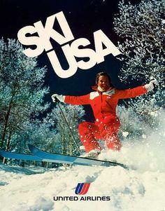 Vintage ski poster - Ski USA !