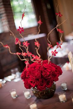 Simple & Contemporary Red Wedding Centerpiece with Red Roses, Branches and Orchids Diy Valentine's Centerpieces, Centerpiece Table, Centrepieces, Wedding Themes, Wedding Decorations, Table Decorations, Wedding Ideas, Wedding Dresses, Red Wedding