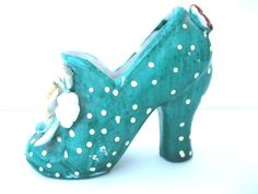 Vintage Ceramic Shoe Green with White Polka by ToddysTreasures, $6.00