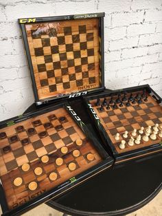 Hand crafted from reclaimed cedar and broken hockey sticks, hand stained chess and/or checker board with epoxy finish. Comes with chess and checker pieces. Wood Turning, Chess, Hockey, Boards, Handmade Gifts, Pattern, Crafts, Etsy, Kids Rooms