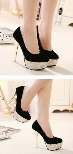 Black And Gold High Heels Fashion Shoes - Boot Heels - Ideas of Boot Heels - Materials: SuedeDetailed Measurements:Size measurements are in (cm)Heel is a quality project.It will be packaged send you a safe and fast.For urgent orders such as neede. High Heels Gold, High Heels Boots, Heeled Boots, Shoe Boots, Shoes Heels, High Shoes, Black And Gold Shoes, Sparkle Heels, Flats