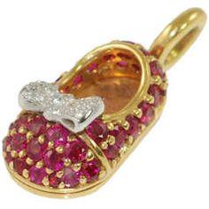 Aaron Basha Ruby Diamond Baby Shoe Charm