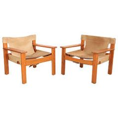 Leather and Wood Spanish Style Chairs, Cream Leather Nicky Kehoe