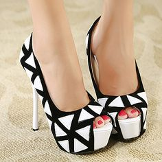 Dramatic Round Peep Toe Geometry Print Stiletto High Heels Pumps