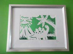 A children's dinosaur personalised papercut commission.