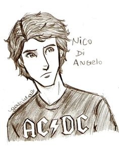 Nico Di Angelo age 18.  I love the AC/DC shirt! (starting to wonder if this is what he'd look like if he was raised by Tony Stark lol)