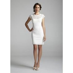 David's Bridal Wedding Dress: Short Lace Cap Sleeve Dress With Exposed Zipper Style 231m28570 ($179) found on Polyvore Shower Dress?