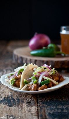 Slow Cooker Beer Chicken Tacos with Jalapeno Slaw with Stone Pale Ale and Stone IPA. #stonebrewing #craftbeer