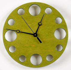 dyed wood Clock | POP Clock in Green, Modern Wall Clock