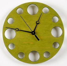 dyed wood Clock | POP Clock in Green, Modern Wall Clock