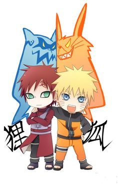 Chibi Gaara and Naruto with their arguing demons. It's adorable!