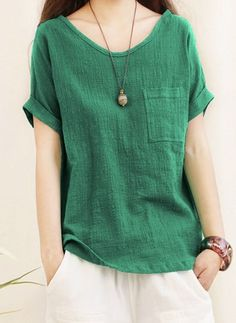 2018 Summer ZANZEA Women Casual Short Sleeve Blouse Loose Solid Elegant Baggy Work Shirt Cotton Linen Top Blusas Plus Size - Women's style: Patterns of sustainability Cheap Womens Tops, Casual Tops For Women, Trendy Tops, Blouses For Women, Plus Size T Shirts, Loose Tops, Work Shirts, Tee Shirts, Short Sleeve Blouse