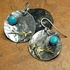 Happy, breezy earrings - Across the Turquoise Sky.  Sterling silver, brass, and turquoise from Lavender Cottage on Etsy