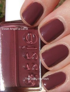 I absolutely loved Essie's Fall 2009 Cuddle with Color collection. It was full of colors very different for Essie. Angora Cardi is a deep mauve creme. It's a really gorgeous color, and … Pink Nail Colors, Fall Nail Colors, Nail Polish Colors, Pink Nails, Essie Colors, Polish Nails, Nail Polishes, Manicures, Glitter Nails
