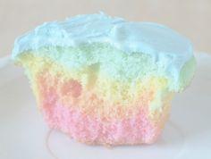Love these pastel rainbow cupcakes!