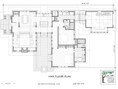The Elm - Two bedroom, single floor plan. Should be redrawn to allow a straight-through view and path from dining, to kitchen, to laundry, to garage - eliminating the corner hall to the second bedroom.