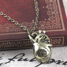Retro Bronze Anatomical Human Cute Hollow Heart Pendant Necklace Chain MC2124 #New #Fashion