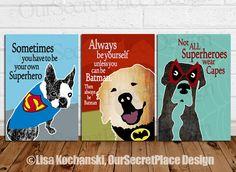 PRINT Any Size Superhero Dog Inspirational Kids Chidren Classroom Wall Art Decor Poster Gift Idea Pet Lover Be Your Own Superhero Sign