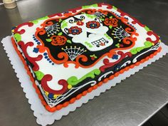 Day of the dead cake by Laurie Grissom Day Of The Dead Cake, Halloween Cakes, Braid Styles, Cake Ideas, Cake Decorating, Birthday Parties, Eat, Desserts, Kids