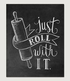 Bakkerij Print keuken keuken Art gewoon Roll mee door LilyandVal