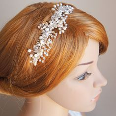 IZARRA Bridal Headband Freshwater Pearl and by GlamorousBijoux Bridal Hair Vine, Hair Comb Wedding, Crystal Flower, Crystal Wedding, Wedding Hair Accessories, Bridal Headpieces, Hair Piece, Hair Jewelry, Wedding Hairstyles