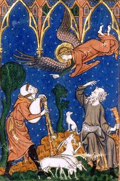 """Livre d'images de madame Marie Hainaut, vers 1285-1290 Paris, BnF, Naf 16251, fol. 22v. La naissance du Christ est annoncée aux bergers, aux humbles. """"Et voici qu'un ange du seigneur leur apparut [.]. Ils furent saisis d'une grande frayeur. Mais l'ange leur dit : """"Ne craignez point, car je vous annonce une bonne nouvelle [.]"""" (The Birth of Christ announced to the Shepherds) (Photo credit: the National Library of France [BnF])"""