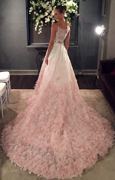 Dreaming of shades of pink. Willow by Kelly Faetanini. The v-neck silk organza ball gown features floral embroidery applique and silk organza petal detail in blush ombre. Available in all ivory and blush. #weddingdress