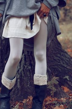 white Tights + grey Boots