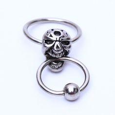 Skull Head Captive Ring Body Piercing Jewellery CHOOSE SINGLE OR PAIR