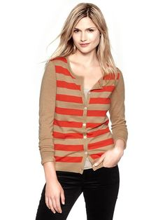 Womens striped merino crew cardigan. Get it at Gap!