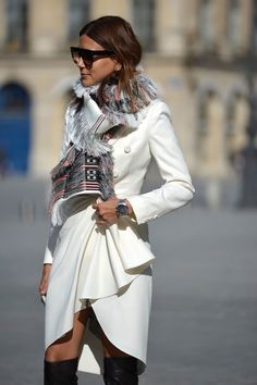 Christine Centenera style file Moschino dress, Celine scarf and sunglasses, Dior Homme watch.