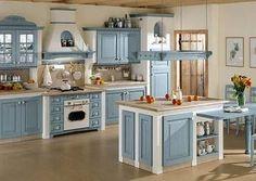 Arrex Le Cucine - Cucina in muratura Monica - finitura azzurra - MI piace il colore e la zona fuochi e cappa