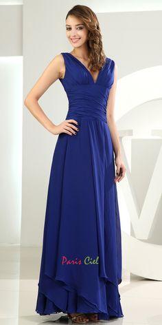 Awesome V-neck Royal Blue Dress
