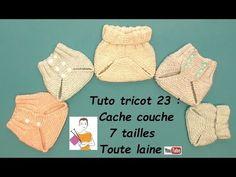 Tuto Tricot 23 : cache couche bébé en 7 tailles, toute laine