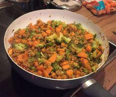 calorie-arm en super lekker: schotel met zoete aardappel, broccoli en kipgehakt