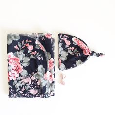 Baby Swaddle Black Floral Swaddle by finnandolive on Etsy