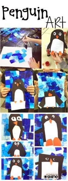 Penguin activities: Penguins Art Project with a lovely blue tissue paper background. January Art, January Crafts, February, Kindergarten Art, Preschool Crafts, Preschool Ideas, Preschool Winter, Classe D'art, Artic Animals