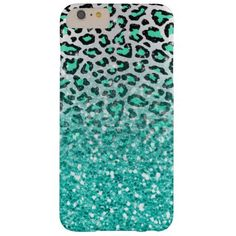 trendy summer aqua green leopard animal print barely there iPhone 6 plus case