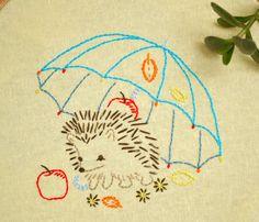 Hedgehog hand embroidery patterns, Under Umbrella Embroidery Pattern, nursery decor, diy gifts, Needlecraft, diy hoop art, redwork