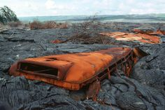 """""""Bus imbedded in lava with remains of a roof in the background at Kalapana"""" #Hawaii Via: http://pacificislandparks.com/2011/06/03/well-there-goes-the-neighborhood/"""