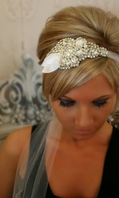 Wedding Headpiece, Bridal Hair Piece, ISABELLA, Wedding Headband, Bridal Headband, Rhinestone Ribbon, White. $74.95, via Etsy.