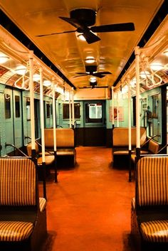 New York City Photography - New York City Subway Car - Green and Orange - Vintage NYC